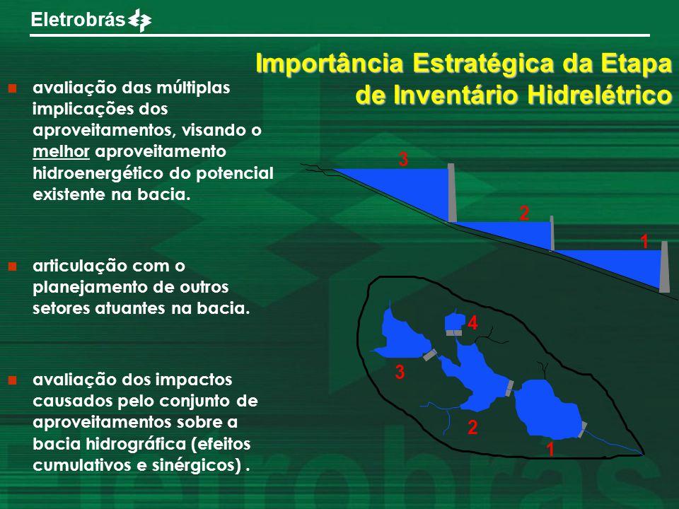 Eletrobrás 1 2 3 4 3 1 2 Importância Estratégica da Etapa de Inventário Hidrelétrico avaliação das múltiplas implicações dos aproveitamentos, visando