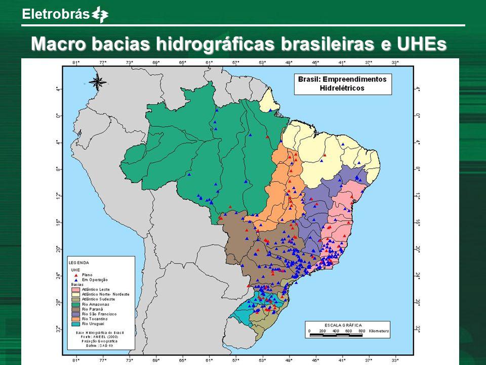 Eletrobrás Macro bacias hidrográficas brasileiras e UHEs