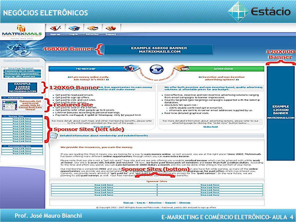 E-MARKETING E COMÉRCIO ELETRÔNICO– AULA 4 NEGÓCIOS ELETRÔNICOS Prof. José Mauro Bianchi Banners Tipos de banners