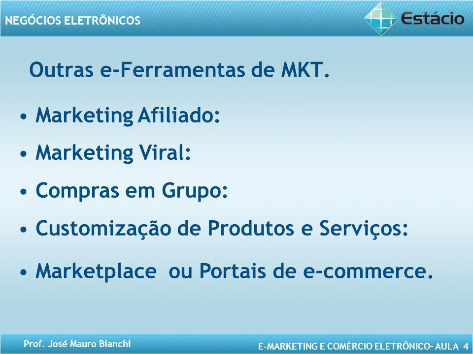 E-MARKETING E COMÉRCIO ELETRÔNICO– AULA 4 NEGÓCIOS ELETRÔNICOS Prof. José Mauro Bianchi Outras e-Ferramentas de MKT. Marketing Afiliado: Marketing Vir
