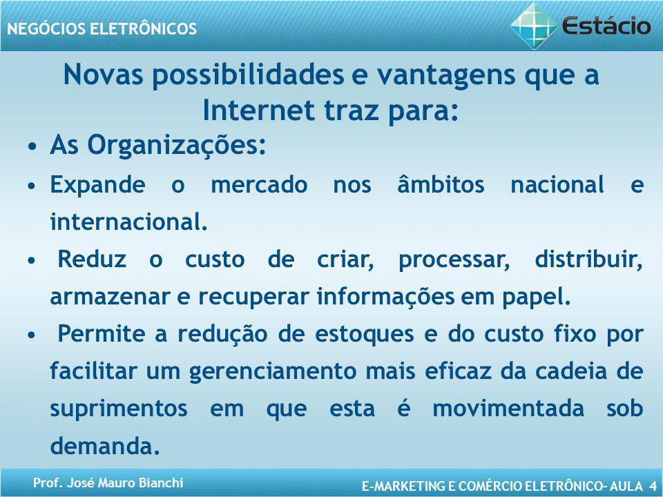 E-MARKETING E COMÉRCIO ELETRÔNICO– AULA 4 NEGÓCIOS ELETRÔNICOS Prof. José Mauro Bianchi Novas possibilidades e vantagens que a Internet traz para: As