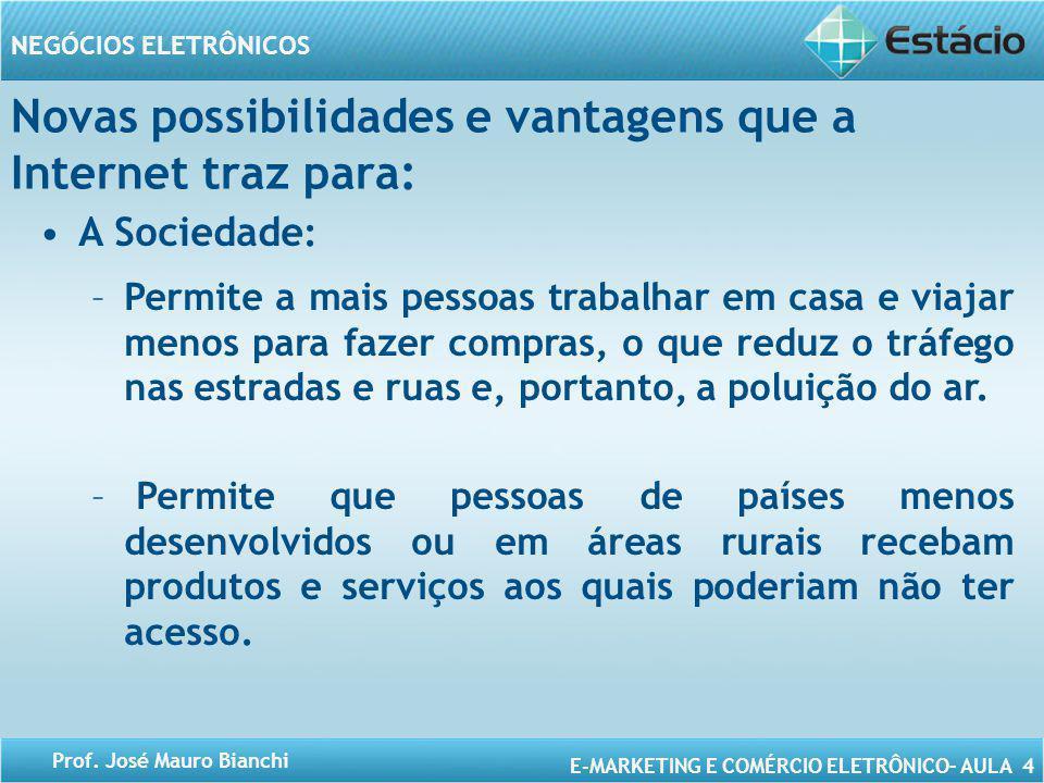 E-MARKETING E COMÉRCIO ELETRÔNICO– AULA 4 NEGÓCIOS ELETRÔNICOS Prof. José Mauro Bianchi Novas possibilidades e vantagens que a Internet traz para: A S