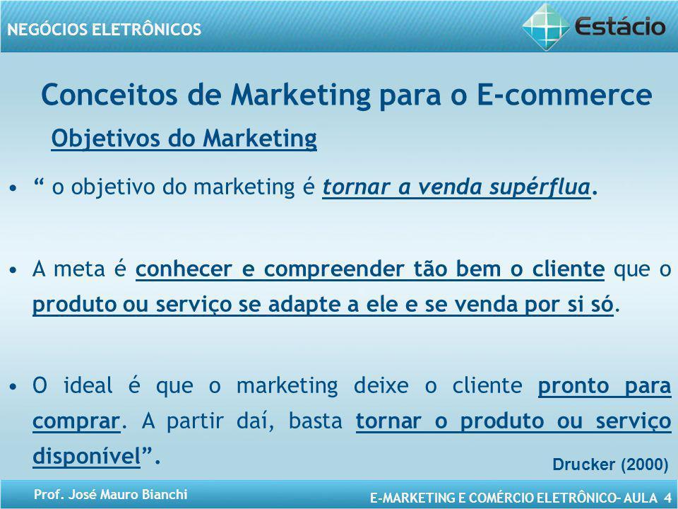 E-MARKETING E COMÉRCIO ELETRÔNICO– AULA 4 NEGÓCIOS ELETRÔNICOS Prof. José Mauro Bianchi Conceitos de Marketing para o E-commerce Objetivos do Marketin