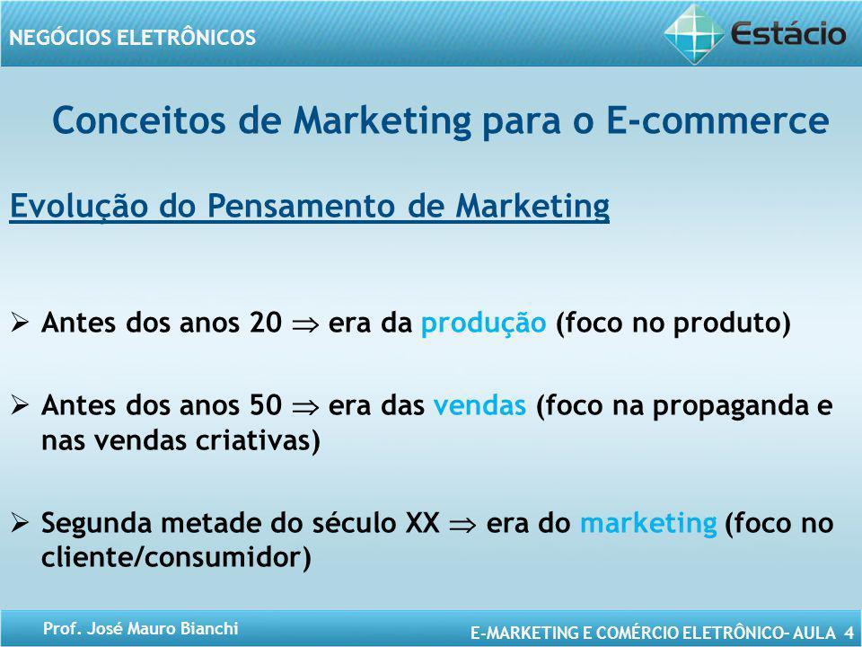 E-MARKETING E COMÉRCIO ELETRÔNICO– AULA 4 NEGÓCIOS ELETRÔNICOS Prof. José Mauro Bianchi Conceitos de Marketing para o E-commerce Evolução do Pensament