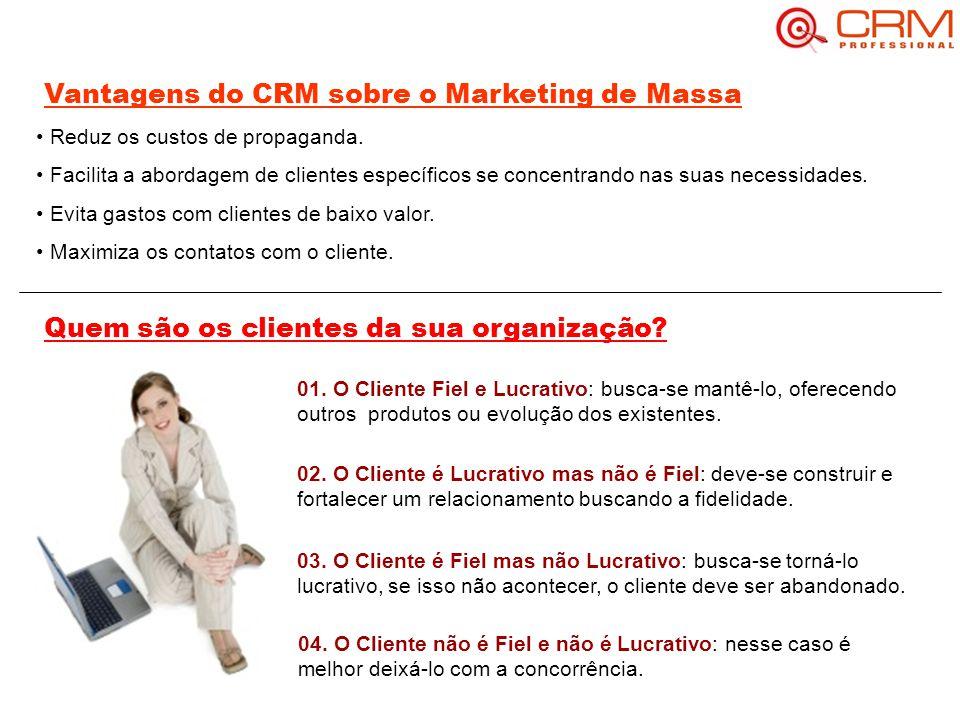 Vantagens do CRM sobre o Marketing de Massa Reduz os custos de propaganda.
