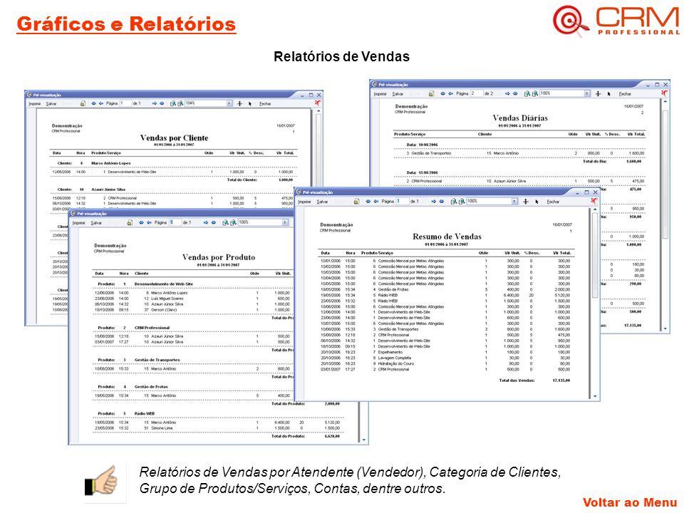 Voltar ao Menu Gráficos e Relatórios Relatórios de Vendas Relatórios de Vendas por Atendente (Vendedor), Categoria de Clientes, Grupo de Produtos/Serviços, Contas, dentre outros.