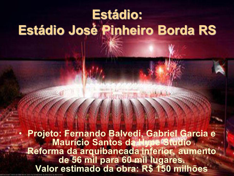 Estádio: Estádio José Pinheiro Borda RS Projeto: Fernando Balvedi, Gabriel Garcia e Maurício Santos da Hype Studio Reforma da arquibancada inferior, aumento de 56 mil para 60 mil lugares.