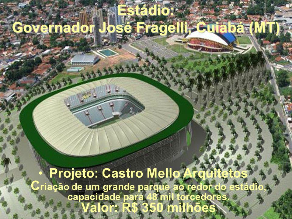 Estádio: Governador José Fragelli, Cuiabá (MT) Projeto: Castro Mello Arquitetos C riação de um grande parque ao redor do estádio, capacidade para 48 mil torcedores.