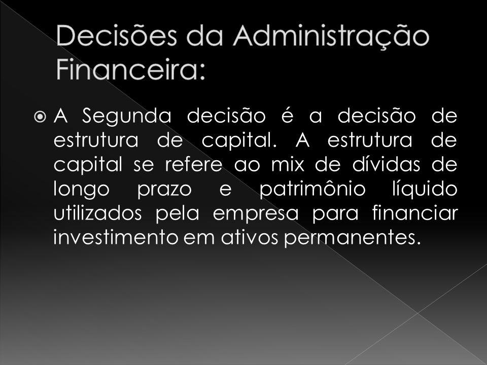 A Segunda decisão é a decisão de estrutura de capital. A estrutura de capital se refere ao mix de dívidas de longo prazo e patrimônio líquido utilizad