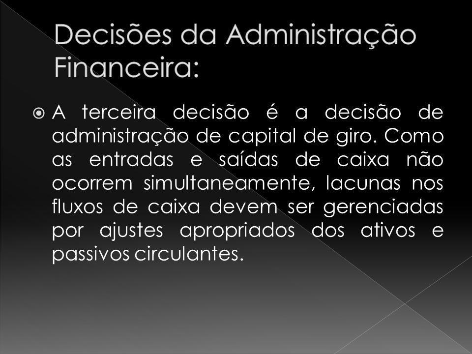 A terceira decisão é a decisão de administração de capital de giro. Como as entradas e saídas de caixa não ocorrem simultaneamente, lacunas nos fluxos