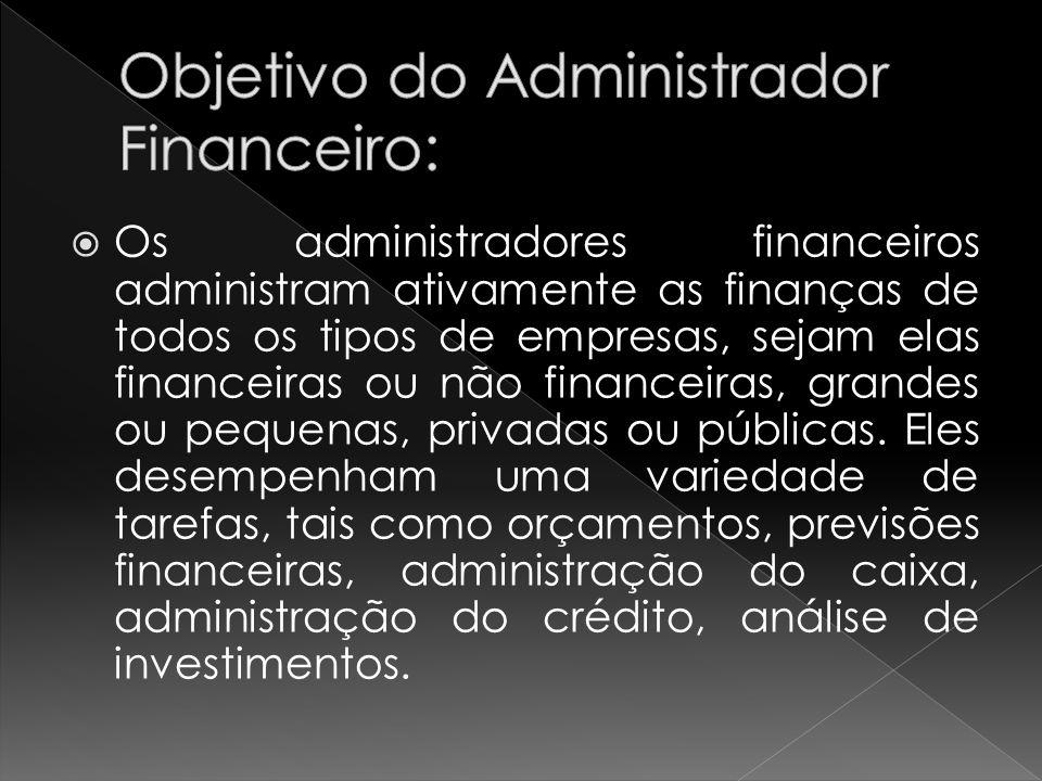 Os administradores financeiros administram ativamente as finanças de todos os tipos de empresas, sejam elas financeiras ou não financeiras, grandes ou