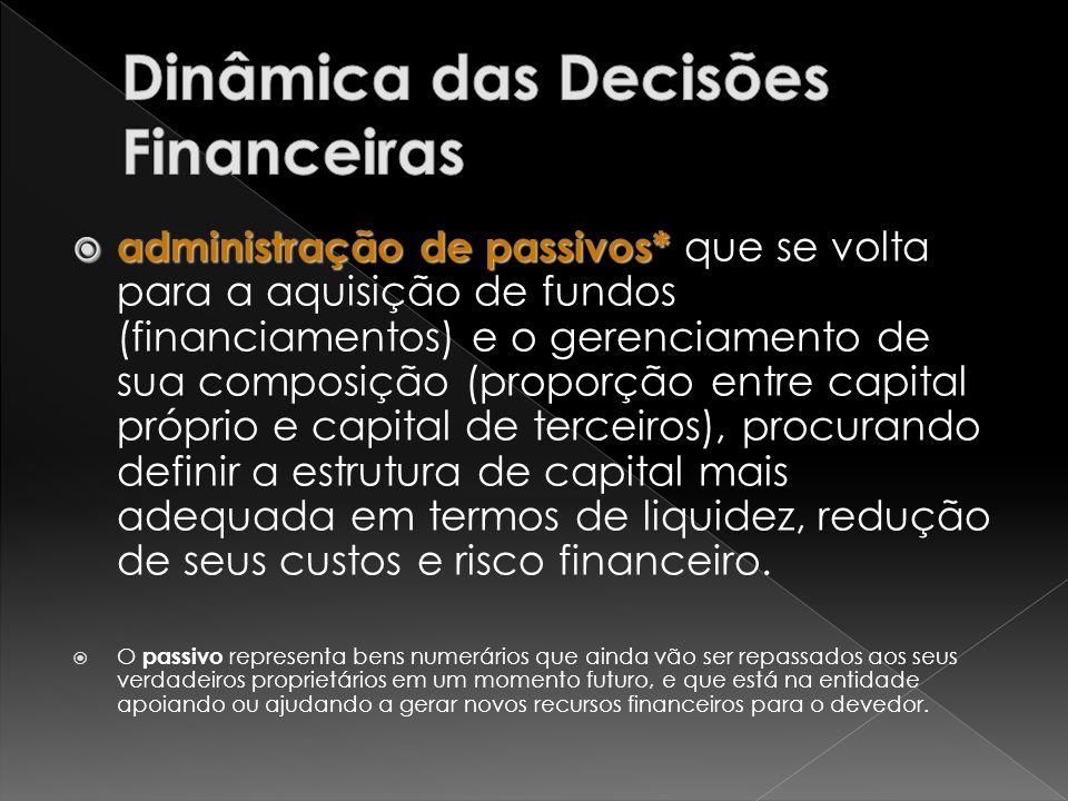 administração de passivos* administração de passivos* que se volta para a aquisição de fundos (financiamentos) e o gerenciamento de sua composição (pr