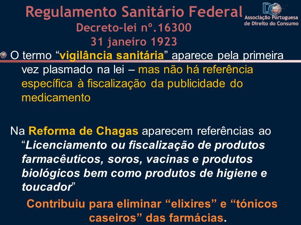 Regulamento Sanitário Federal Decreto-lei nº.16300 31 janeiro 1923 O termo vigilância sanitária aparece pela primeira vez plasmado na lei – mas não há