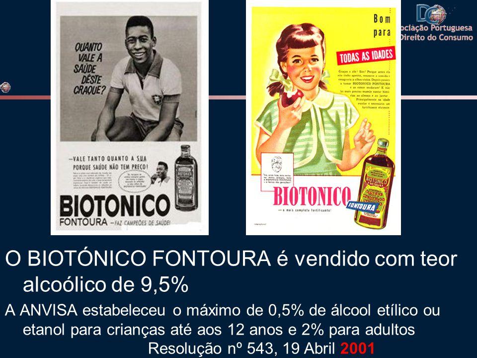 O BIOTÓNICO FONTOURA é vendido com teor alcoólico de 9,5% A ANVISA estabeleceu o máximo de 0,5% de álcool etílico ou etanol para crianças até aos 12 anos e 2% para adultos Resolução nº 543, 19 Abril 2001