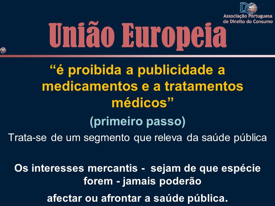 União Europeia é proibida a publicidade a medicamentos e a tratamentos médicos (primeiro passo) Trata-se de um segmento que releva da saúde pública Os