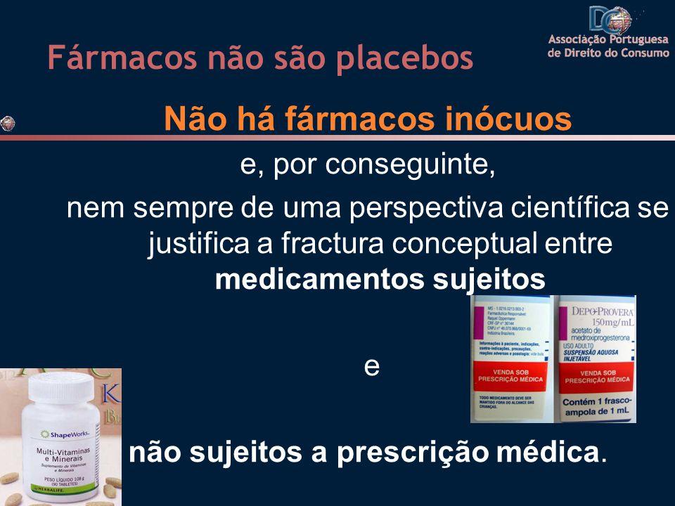 Fármacos não são placebos Não há fármacos inócuos e, por conseguinte, nem sempre de uma perspectiva científica se justifica a fractura conceptual entre medicamentos sujeitos e não sujeitos a prescrição médica.