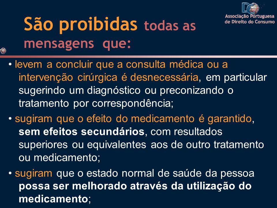 São proibidas todas as mensagens que: levem a concluir que a consulta médica ou a intervenção cirúrgica é desnecessária, em particular sugerindo um di