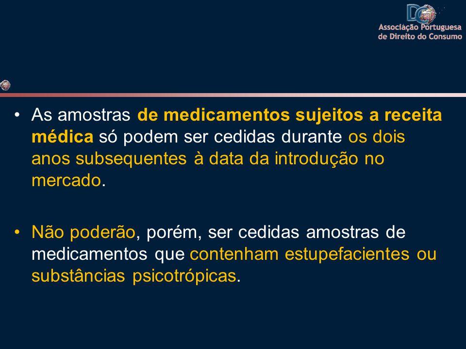 As amostras de medicamentos sujeitos a receita médica só podem ser cedidas durante os dois anos subsequentes à data da introdução no mercado. Não pode