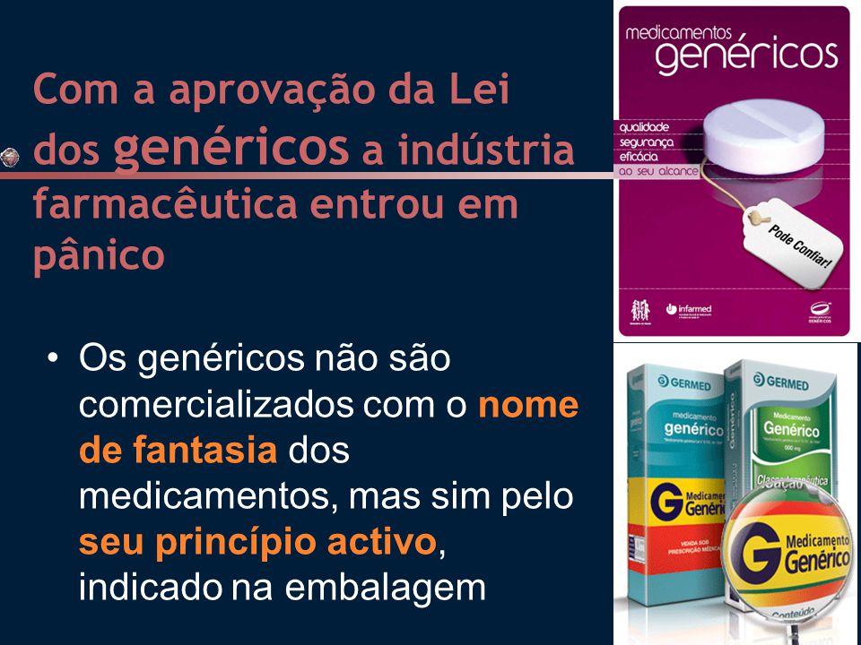 Com a aprovação da Lei dos genéricos a indústria farmacêutica entrou em pânico Os genéricos não são comercializados com o nome de fantasia dos medicamentos, mas sim pelo seu princípio activo, indicado na embalagem