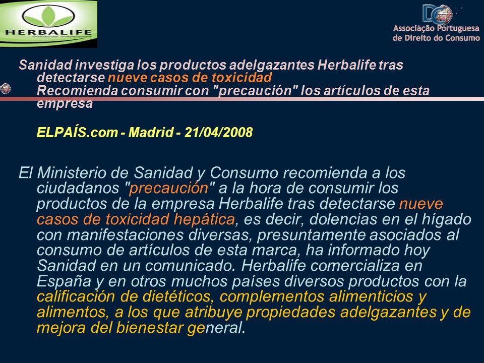 Sanidad investiga los productos adelgazantes Herbalife tras detectarse nueve casos de toxicidad Recomienda consumir con
