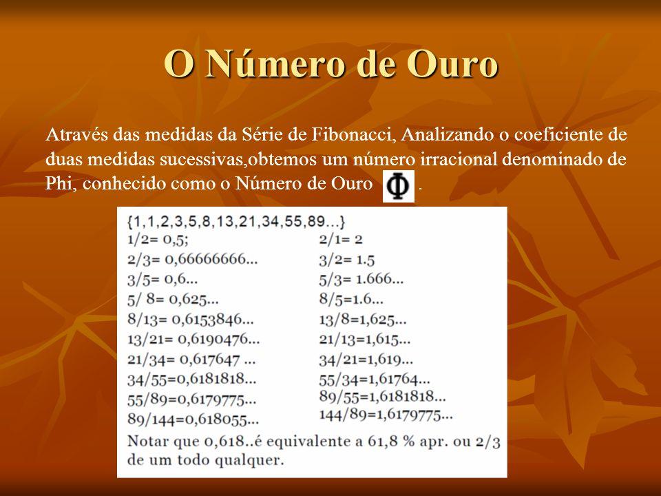 O Número de Ouro Através das medidas da Série de Fibonacci, Analizando o coeficiente de duas medidas sucessivas,obtemos um número irracional denominad