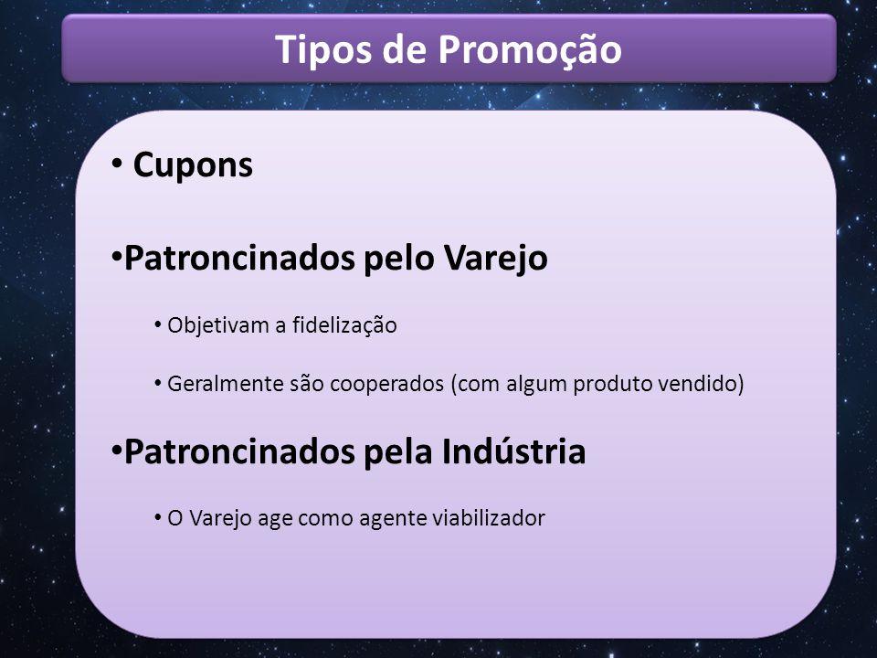 Tipos de Promoção Juntou Trocou Positivos Promovem experimentação (65% novos usuários) Alcançam grandes populações Podem aumentar nível de estoque de uma marca.