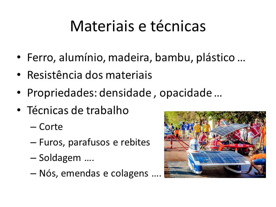 Materiais e técnicas Ferro, alumínio, madeira, bambu, plástico … Resistência dos materiais Propriedades: densidade, opacidade … Técnicas de trabalho –