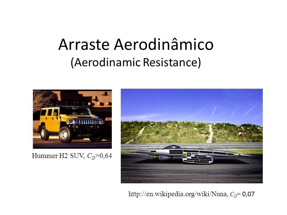 Arraste Aerodinâmico (Aerodinamic Resistance) Hummer H2 SUV, C D =0,64 http://en.wikipedia.org/wiki/Nuna, C D = 0,07
