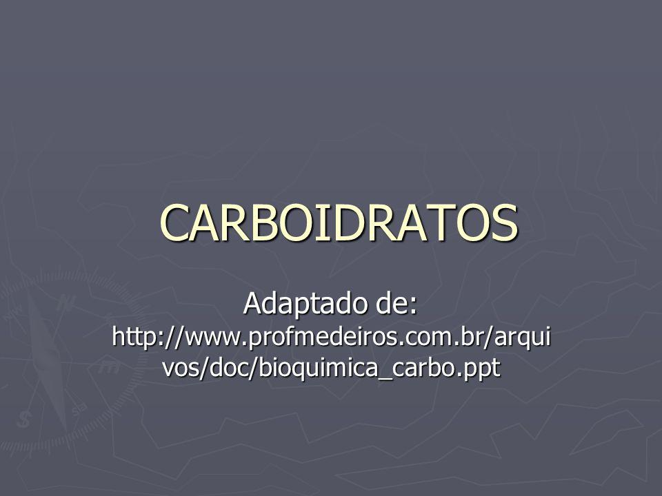 CARBOIDRATOS CARBOIDRATOS Adaptado de: http://www.profmedeiros.com.br/arqui vos/doc/bioquimica_carbo.ppt