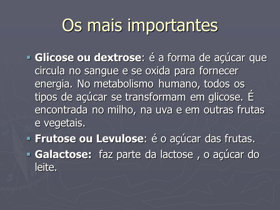 Os mais importantes Glicose ou dextrose: é a forma de açúcar que circula no sangue e se oxida para fornecer energia. No metabolismo humano, todos os t