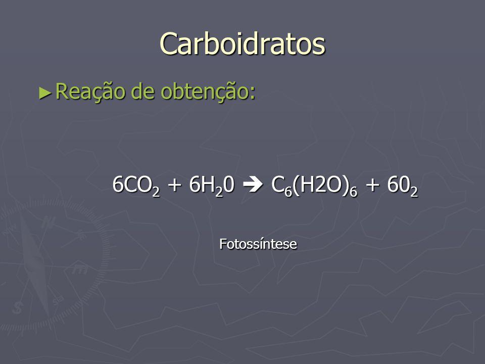 Carboidratos Reação de obtenção: Reação de obtenção: 6CO 2 + 6H 2 0 C 6 (H2O) 6 + 60 2 6CO 2 + 6H 2 0 C 6 (H2O) 6 + 60 2Fotossíntese