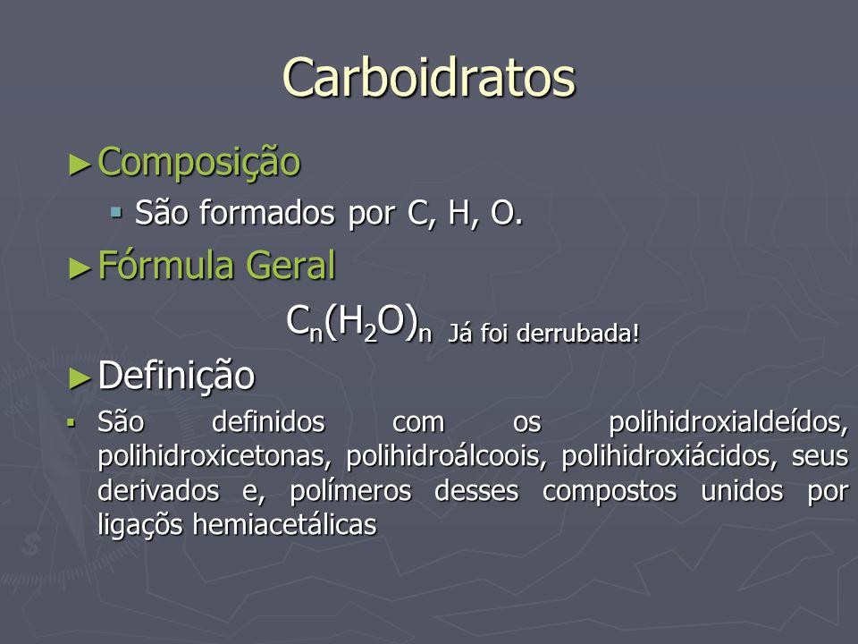 Carboidratos Composição Composição São formados por C, H, O. São formados por C, H, O. Fórmula Geral Fórmula Geral C n (H 2 O) n Já foi derrubada! C n