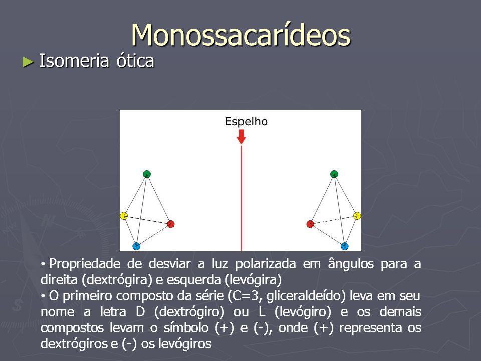 Monossacarídeos Isomeria ótica Isomeria ótica Propriedade de desviar a luz polarizada em ângulos para a direita (dextrógira) e esquerda (levógira) O p