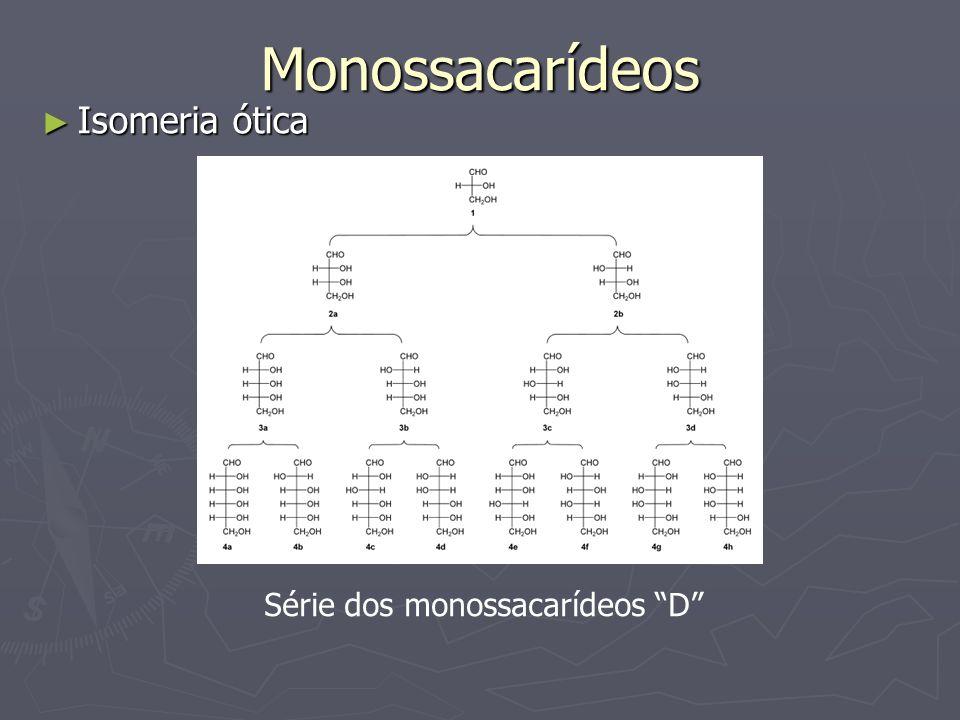 Monossacarídeos Isomeria ótica Isomeria ótica Série dos monossacarídeos D