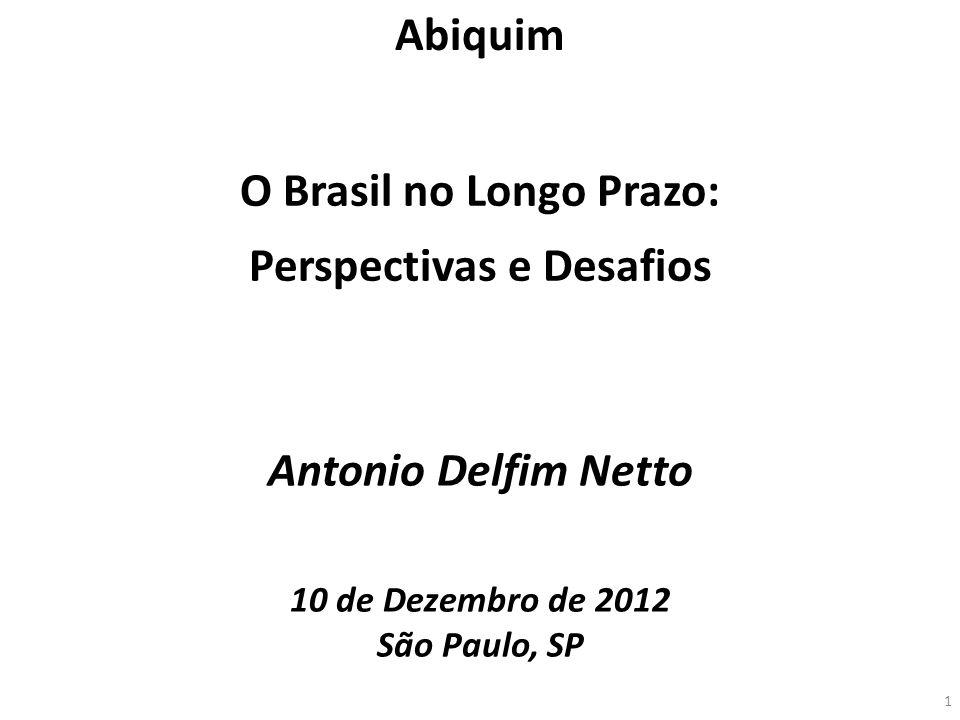 Antonio Delfim Netto 10 de Dezembro de 2012 São Paulo, SP O Brasil no Longo Prazo: Perspectivas e Desafios Abiquim 1