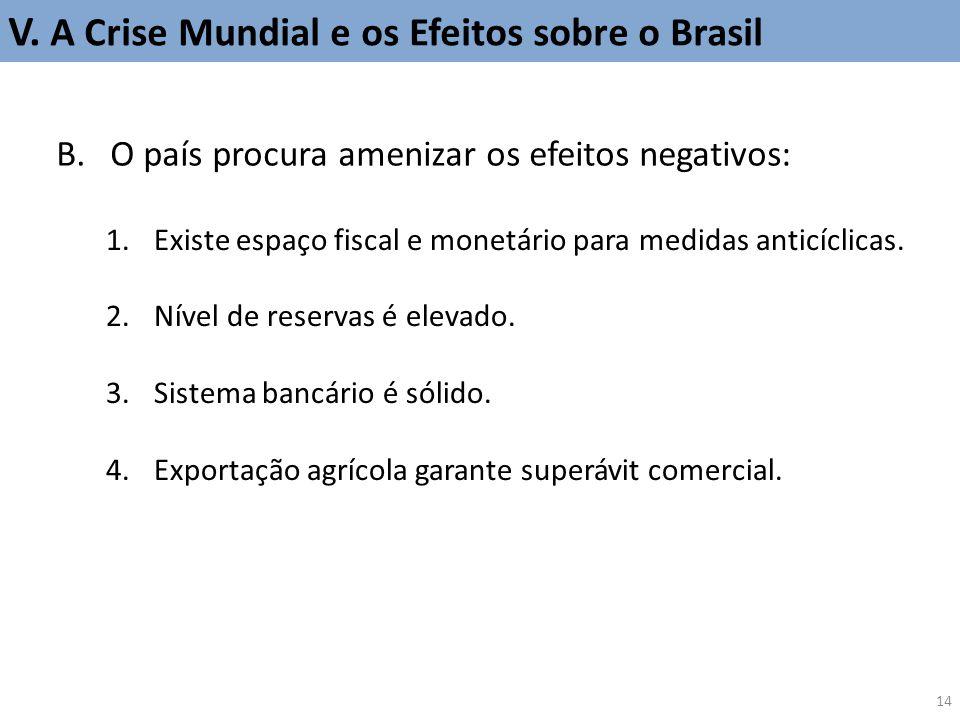 B.O país procura amenizar os efeitos negativos: 1.Existe espaço fiscal e monetário para medidas anticíclicas. 2.Nível de reservas é elevado. 3.Sistema