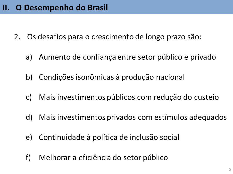 5 2.Os desafios para o crescimento de longo prazo são: a)Aumento de confiança entre setor público e privado b)Condições isonômicas à produção nacional