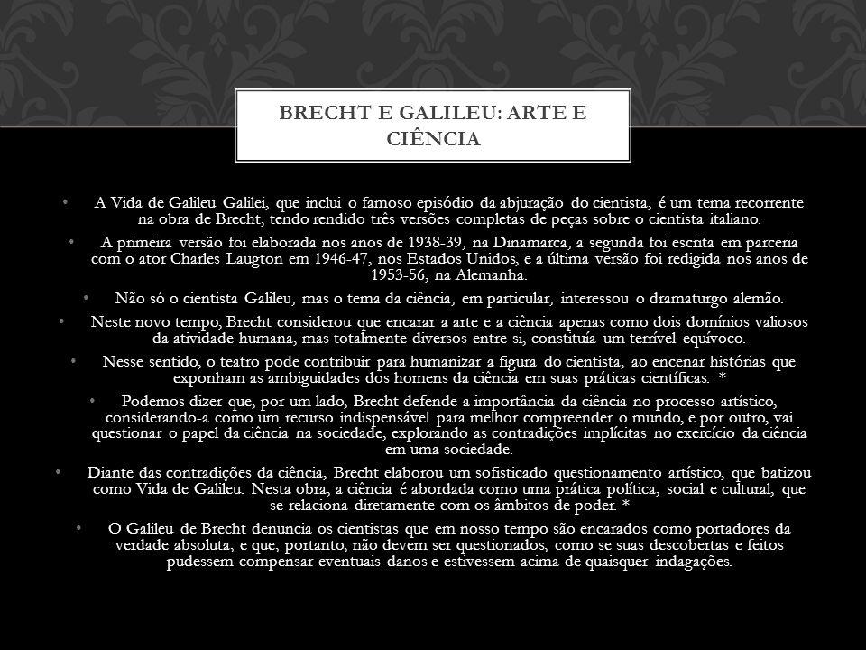 A Vida de Galileu Galilei, que inclui o famoso episódio da abjuração do cientista, é um tema recorrente na obra de Brecht, tendo rendido três versões