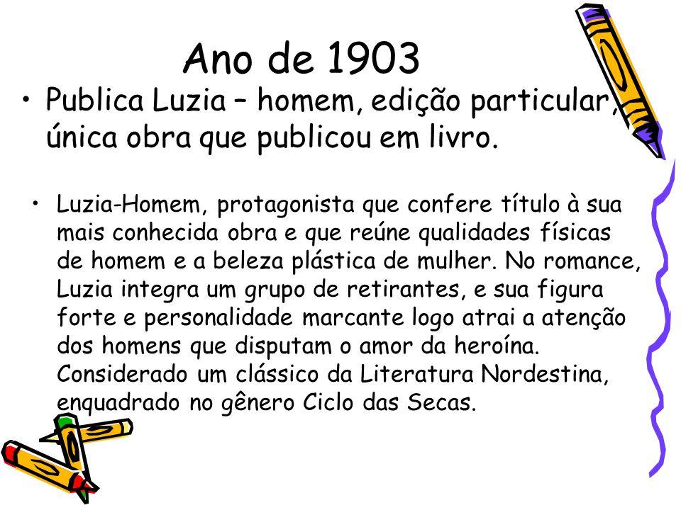 Ano de 1903 Publica Luzia – homem, edição particular, única obra que publicou em livro. Luzia-Homem, protagonista que confere título à sua mais conhec