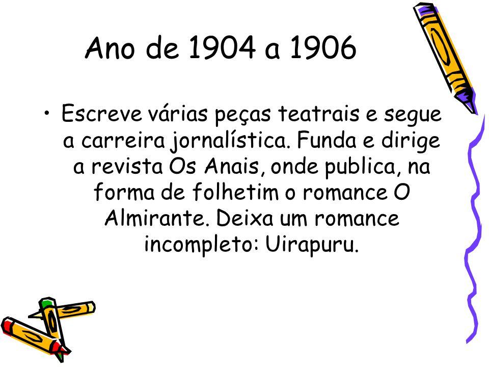 Ano de 1904 a 1906 Escreve várias peças teatrais e segue a carreira jornalística. Funda e dirige a revista Os Anais, onde publica, na forma de folheti