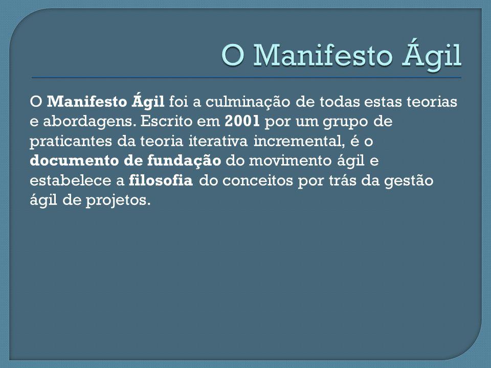 O Manifesto Ágil foi a culminação de todas estas teorias e abordagens. Escrito em 2001 por um grupo de praticantes da teoria iterativa incremental, é