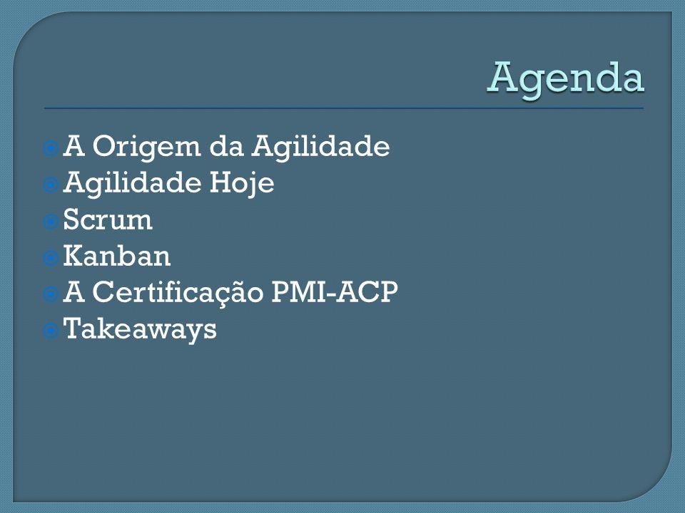 A Origem da Agilidade Agilidade Hoje Scrum Kanban A Certificação PMI-ACP Takeaways