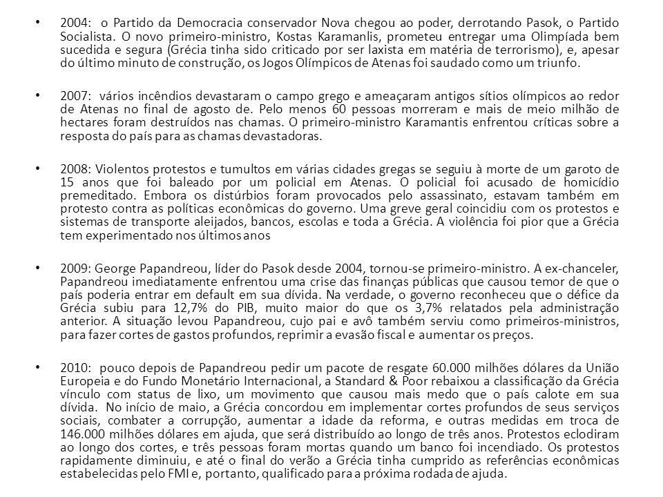 2004: o Partido da Democracia conservador Nova chegou ao poder, derrotando Pasok, o Partido Socialista. O novo primeiro-ministro, Kostas Karamanlis, p