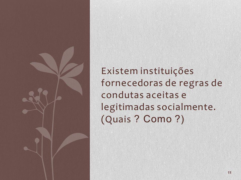 Existem instituições fornecedoras de regras de condutas aceitas e legitimadas socialmente. (Quais ? Como ?) 11