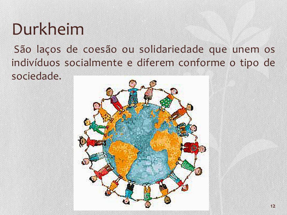 12 São laços de coesão ou solidariedade que unem os indivíduos socialmente e diferem conforme o tipo de sociedade. Durkheim