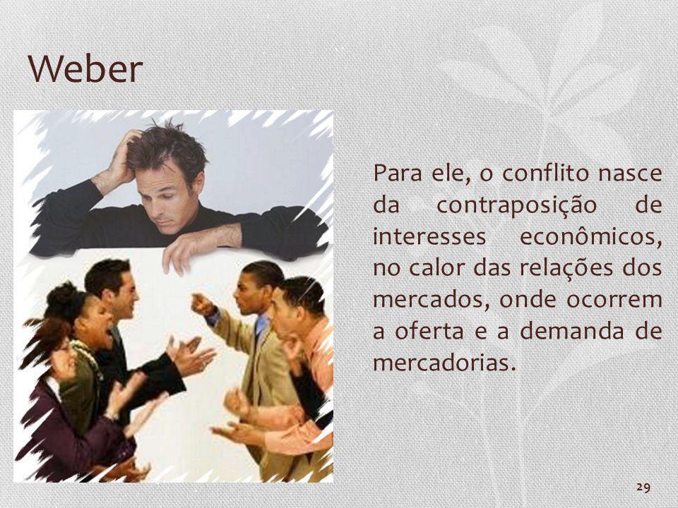 29 Weber Para ele, o conflito nasce da contraposição de interesses econômicos, no calor das relações dos mercados, onde ocorrem a oferta e a demanda d