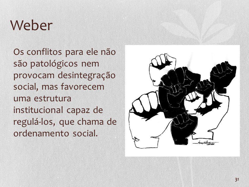 31 Weber Os conflitos para ele não são patológicos nem provocam desintegração social, mas favorecem uma estrutura institucional capaz de regulá-los, q