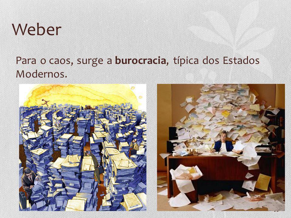33 Weber Para o caos, surge a burocracia, típica dos Estados Modernos.
