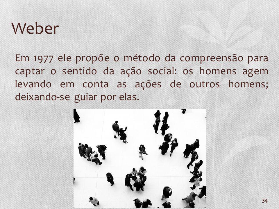 34 Weber Em 1977 ele propõe o método da compreensão para captar o sentido da ação social: os homens agem levando em conta as ações de outros homens; d