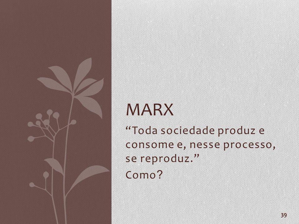 Toda sociedade produz e consome e, nesse processo, se reproduz. Como ? 39 MARX